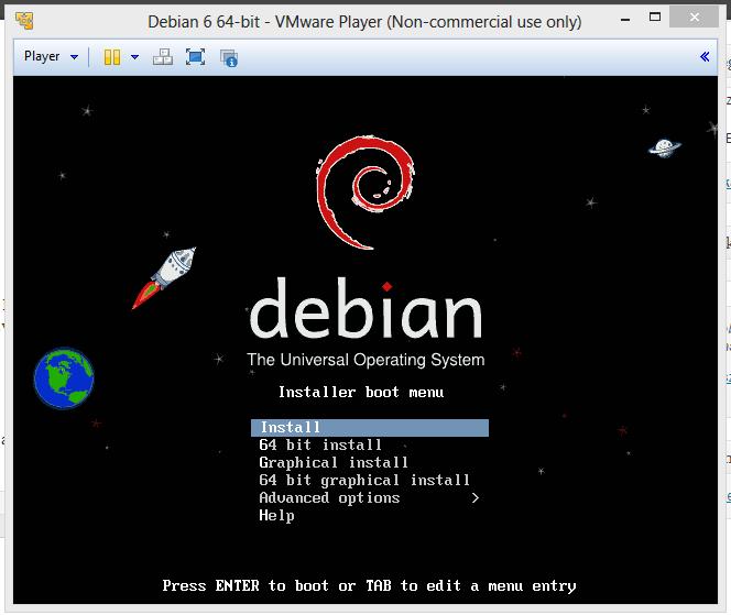 Debian 6 telepítőképernyő